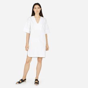 Everlane The Cotton Poplin Mid-Sleeve V-Neck Dress